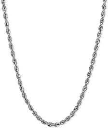 "18"" Rope Necklace (2-1/2mm) in 14k White Gold"