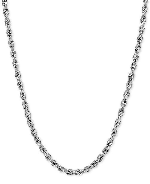 "Italian Gold 18"" Rope Necklace (2-1/2mm) in 14k White Gold"
