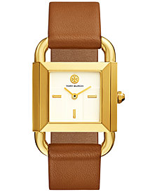 Tory Burch Women's Phipps Luggage Leather Strap Watch 21x41mm