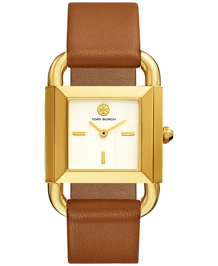 Tory Burch - Women's Phipps Luggage Leather Strap Watch 21x41mm