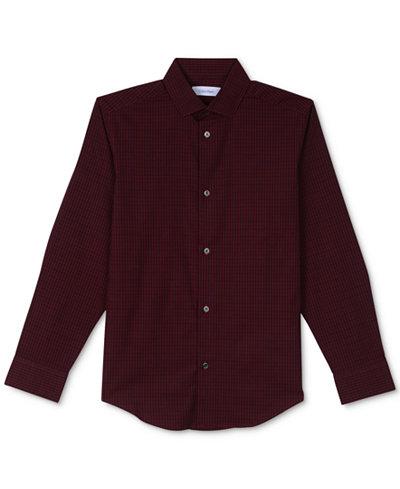 Calvin Klein Checked-Print Stretch Shirt, Big Boys