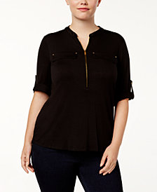 Calvin Klein Plus Size Roll-Tab-Sleeve Zip-Front Shirt