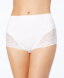 Bali Women's  Firm Tummy-Control Lace Trim Microfiber Brief 2 Pack X054