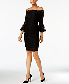 Adrianna Papell Bell-Sleeve Lace Off-The-Shoulder Dress