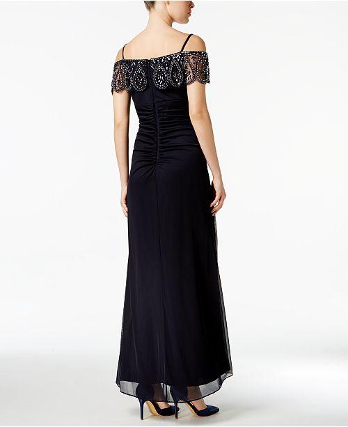 e53e50d4 XSCAPE Petite Embellished Off-The-Shoulder Gown & Reviews - Dresses ...