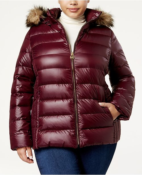 bfe72edd9fa2c Michael Kors Plus Size Packable Faux-Fur-Trim Down Coat   Reviews