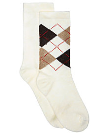 HUE® Women's 2-Pk. Solid & Argyle Boot Socks