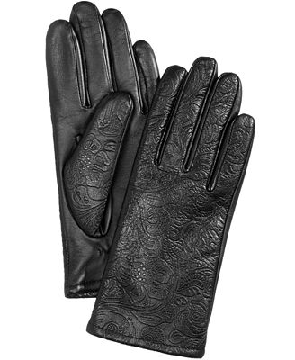 Charter Club Paisley-Embossed Touchscreen Leather Gloves, Created for Macy's