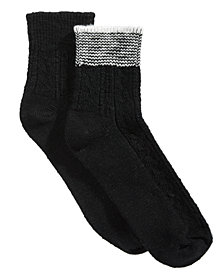 HUE® Women's 2-Pk. Striped Shortie Boot Socks