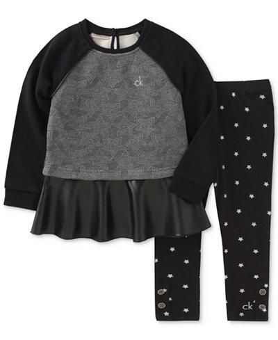 Calvin Klein 2-Pc. Layered-Look Star Tunic & Printed Leggings Set, Little Girls