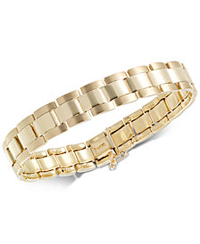 Men's Satin & High Polish Link Bracelet in 10k Gold