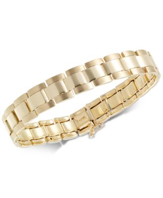 menu0027s satin u0026 high polish link bracelet in 10k gold