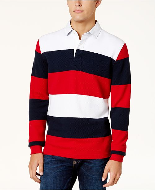 98e0b02a Tommy Hilfiger Men's Striped Rugby Shirt & Reviews - Casual Button ...