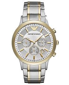 Emporio Armani Men's Chronograph Two-Tone Stainless Steel Bracelet Watch 43mm