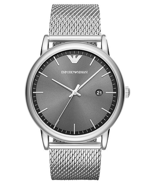829ef7afd Emporio Armani Men's Luigi Stainless Steel Mesh Bracelet Watch 43mm ...