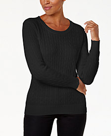 Karen Scott Crewneck Cable-Knit Sweater, Created for Macy's