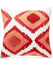 "Lucky Brand 20"" x 20"" Embroidered Ikat Decorative Pillow, Created for Macy's"
