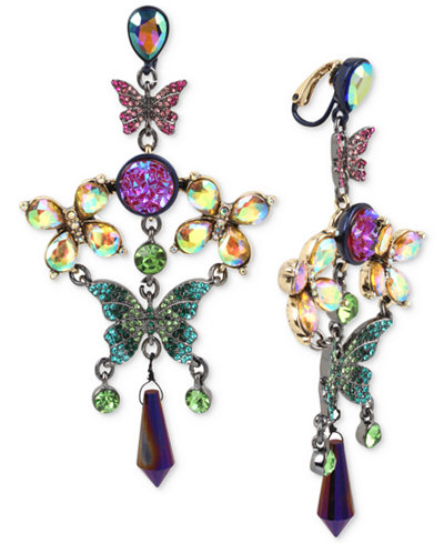 Betsey Johnson Hematite-Tone Crystal Butterfly Chandelier Earrings