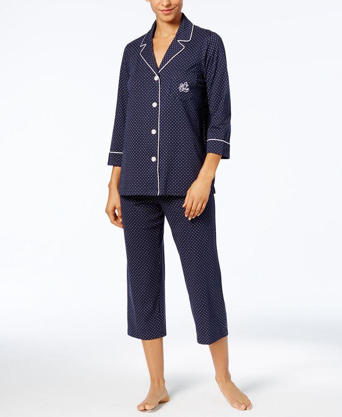 Lauren Ralph Lauren - 3/4 Sleeve Classic Notch Collar Top and Capri Pajama Pants