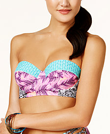 Hula Honey Juniors' Leaf Breeze Printed Underwire Push-Up Midkini Top, Created for Macy's