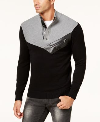I-N-C Mens faux Leather Cable Knit Pullover Sweater