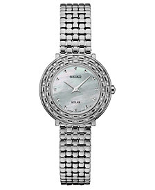Seiko Women's Solar Tressia Diamond-Accent Stainless Steel Bracelet Watch 29mm