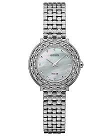 Seiko Women's Solar Tressia Diamond-Accent Stainless Steel Bracelet Watch 29mm