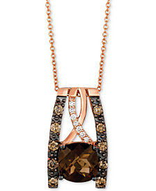Le Vian Chocolatier® Chocolate Quartz® (2 ct. t.w.) & Diamond (3/8 ct. t.w.) Pendant Necklace in 14k Rose Gold