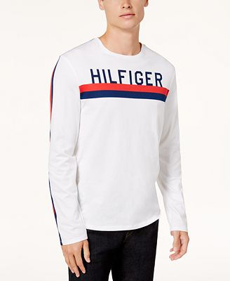 Tommy Hilfiger Men's Logo-Print Long-Sleeve T-Shirt - T-Shirts ...