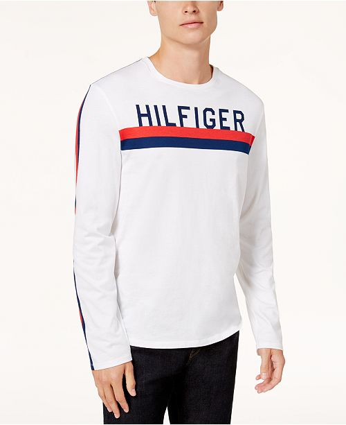 ... Tommy Hilfiger Men s Logo-Print Long-Sleeve T-Shirt 9422194f7103