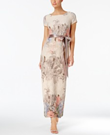 Adrianna Papell Floral-Print Column Gown