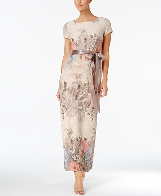 Adrianna Papell Floral Print Column Gown Dresses Women Macy S