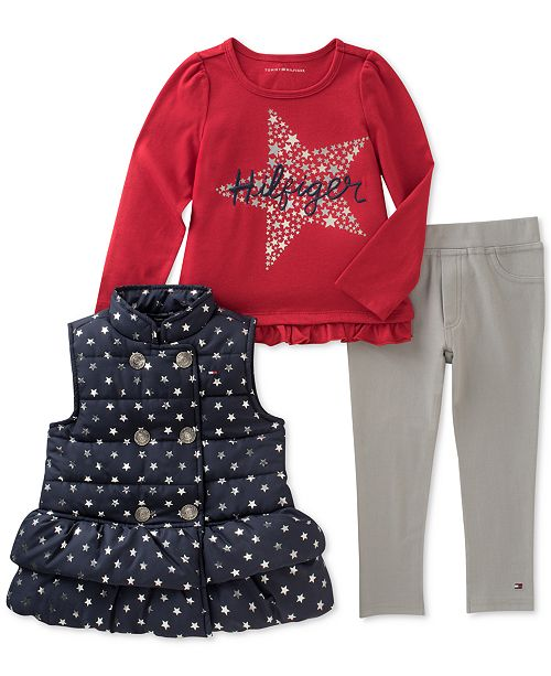 42c8091a Tommy Hilfiger Tommy Girl 3-Pc. Puffer Vest, Graphic Top & Leggings Set