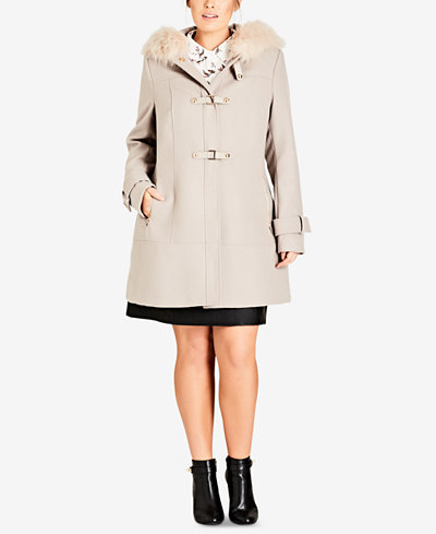 City Chic Trendy Plus Size Faux-Fur-Trim Coat