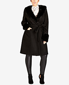 City Chic Trendy Plus Size Make Me Blush Faux-Fur-Trim Coat