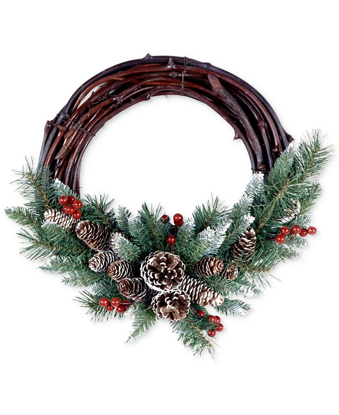 """National Tree Company 16"""" Frosted Berry Grapevine Wreath"""