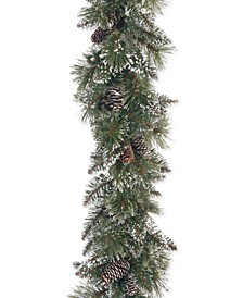 6' Glittery Bristle Pine Garland With Pine Cones