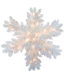 """National Tree Company 32"""" White Iridescent Tinsel Snowflake With 35 Battery-Operated LED Lights & Timer"""
