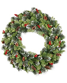"""36"""" Crest-wood Spruce Wreath with Cones, Glitter & Red Berries"""