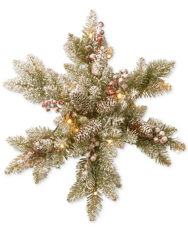 "National Tree Company 18"" Snowy Dunhill Fir Snowflake with LED Lights"