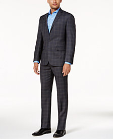 Ryan Seacrest Distinction™ Men's Slim-Fit Gray & Blue Plaid Suit Separates, Created for Macy's