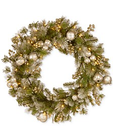 "30"" Glittery Pomegranate Pine Wreath With 70 Battery-Operated LED Lights & Timer"