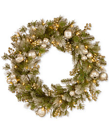 """National Tree Company 30"""" Glittery Pomegranate Pine Wreath With 70 Battery-Operated LED Lights & Timer"""