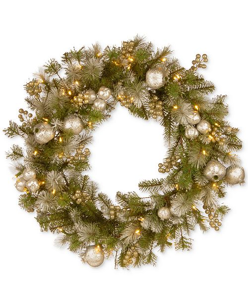 "National Tree Company 30"" Glittery Pomegranate Pine Wreath With 70 Battery-Operated LED Lights & Timer"
