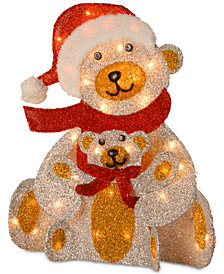 "National Tree Company 24"" Tinsel Bear & Cub Decoration With 35 Clear Lights"