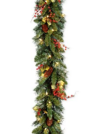"""9' x 10"""" Classical Collection Garland with Red Berries, Cones, Holly Leaves and 50 Clear Lights"""