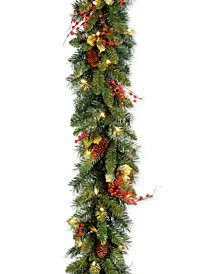 "National Tree Company 9' x 10"" Classical Collection Garland with Red Berries, Cones, Holly Leaves and 50 Clear Lights"