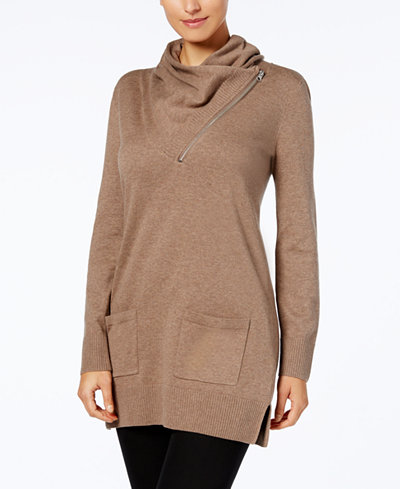 Jeanne Pierre Cotton Cowl-Neck Tunic Sweater - Sweaters - Women ...