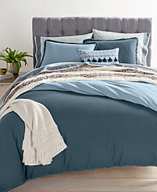 Whim by Martha Stewart Collection Cotton Linen Reversible Steel Blue Bedding Collection, Created for Macy's