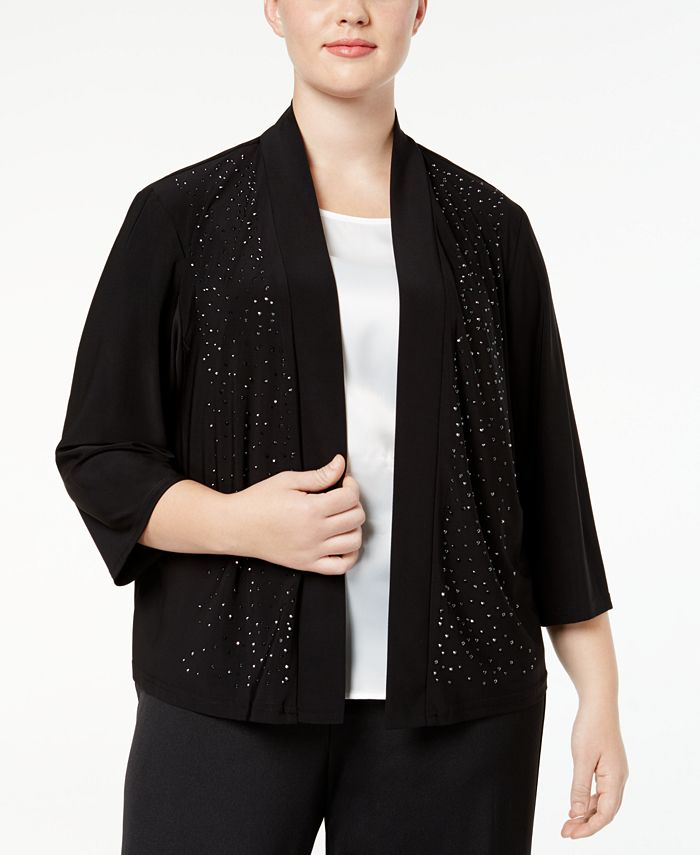 R & M Richards - Plus Size Cardigan, Beaded Open Front